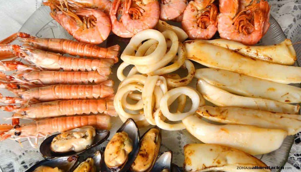calorías, índice glucémico y valor nutritivo o nutricional y propiedades de los diferentes tipos de mariscos