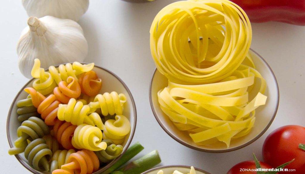 calorías, índice glucémico y valor nutritivo o nutricional y propiedades de la pasta