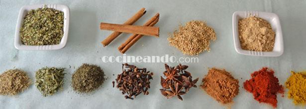 especias y hierbas aromáticas: calorías, índice glucémico y valor nutritivo