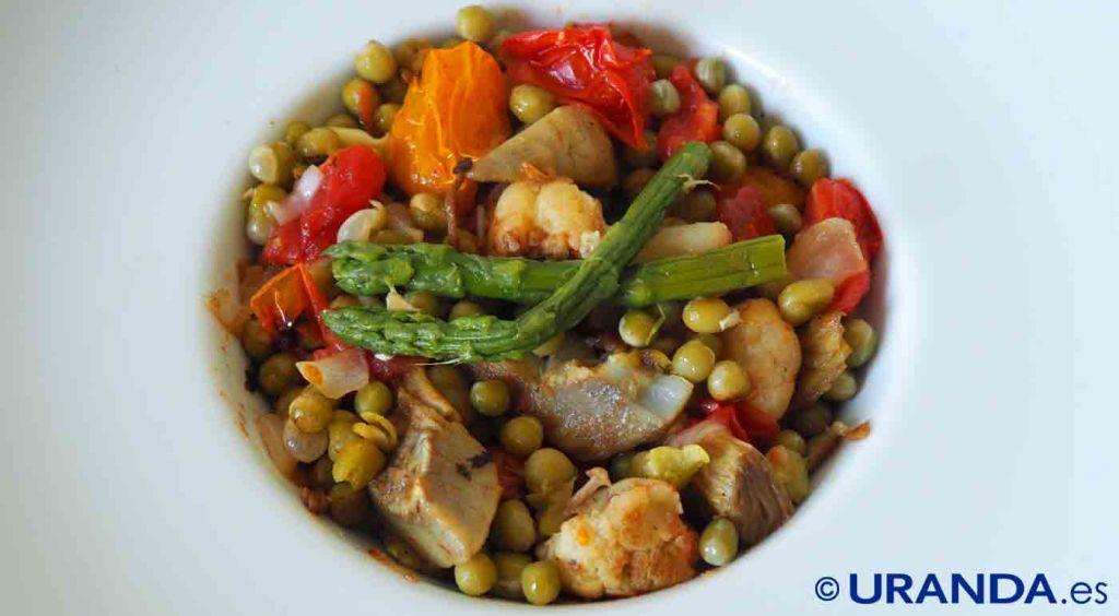 Receta de salteado de guisantes secos con verduras - recetas de legumbres - recetas vegetarianas y veganas