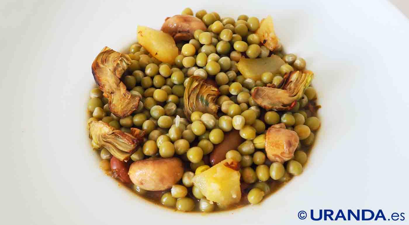 Receta de guiso de guisantes secos con patatas y setas - recetas de legumbres - recetas vegetarianas y veganas
